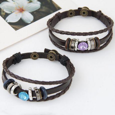 Black Woven Bracelets Leather Bracelet Purple/Blue Crystal Jewelry Wristbands