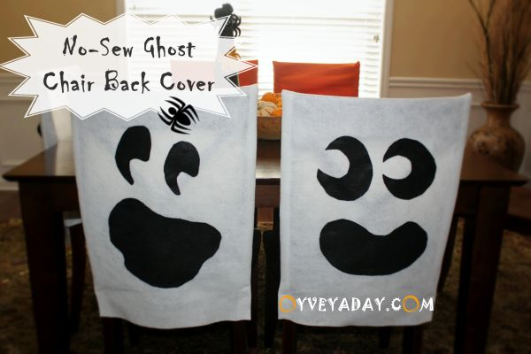 DIY Halloween: No-Sew Ghost Chair Covers from Oyveyaday.com  Halloween Chair Cover, DIY Halloween Decorations