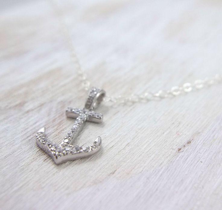 Silver Anchor Necklace - Pave Anchor Jewelry - Anchor Pendant - Nautical Wedding…