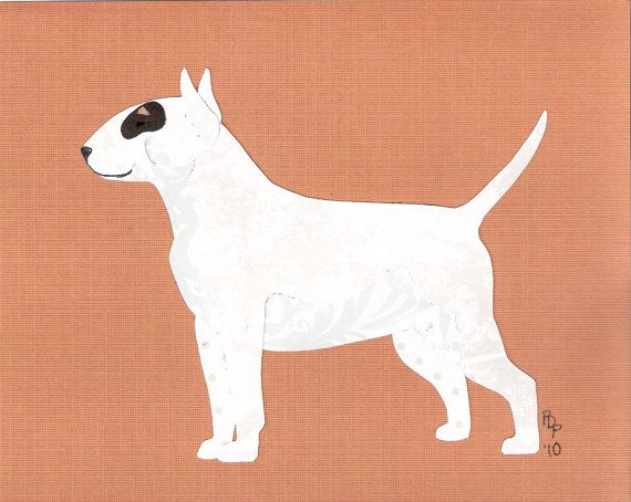 Bull Terrier (White) Cut Up on Etsy, $35.00