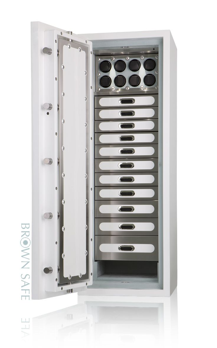 Custom Safe - White & Mint Green Watch Safe - 11 brushed stainless steel drawers, 8 Orbita watch winders, open area for storage of larger items, antique white exterior finish, mint green Ultrasuede interior and a Biometric fingerprint reading lock.