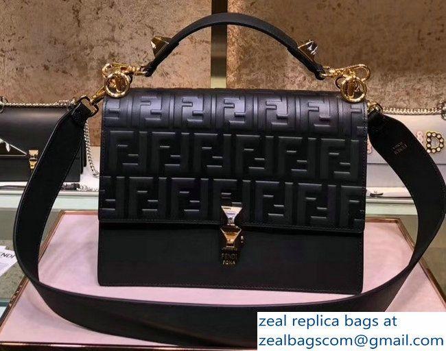b69884852db Fendi Kan I Medium Top Handle Bag Embossed FF Logo Black 2018   Bags ...
