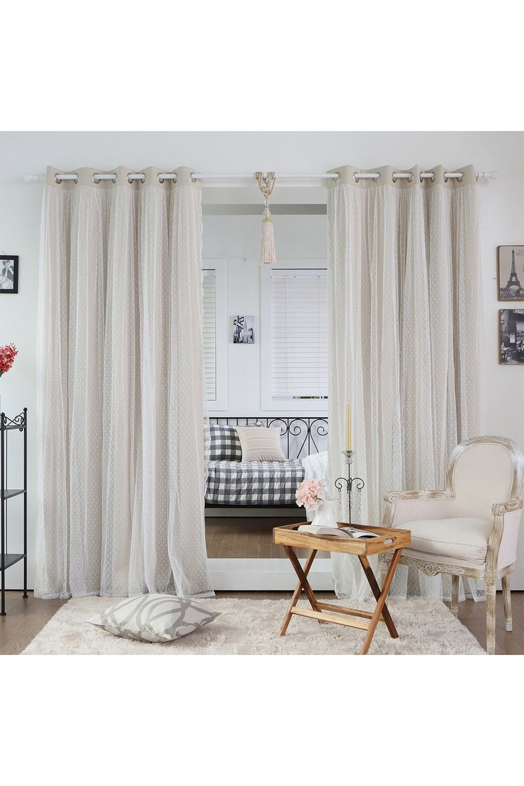 Dotted Lace Overlay Blackout Curtains - Set of 2 - Beige by Best Home Fashion…