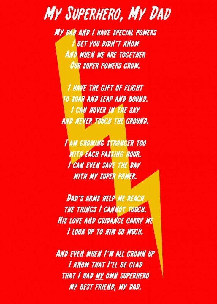 My Superhero, My Dad Poem and Printable | Create Craft Love