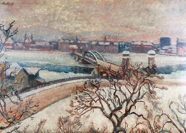 Fryderyk PAUTSCH (1877-1950)  Kraków zimą - widok na most, 1925 olej, tektura; 64,5 x 87,5 cm; sygn. i dat. l. g.: FPautsch 25