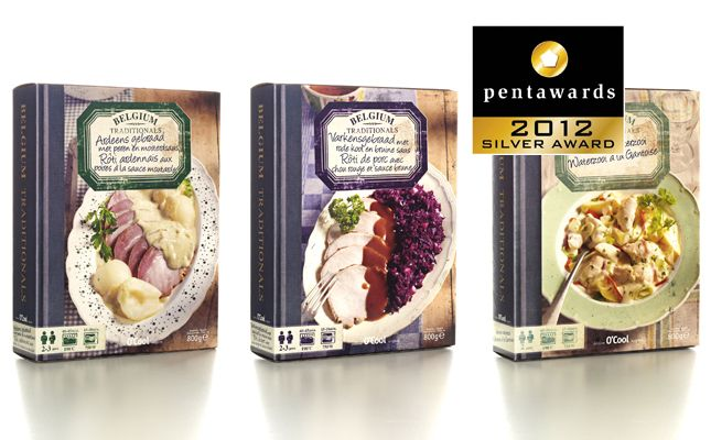 "Clever concept for frozen meal - ""Packaging disguised as a classic recipe book with a selection of Belgium's best local and regional dishes."""