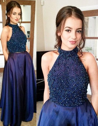 Stunning Two Piece Halter Sleeveless Floor-Length Dark Blue Taffeta Prom Dress with Beading Pocket,Fashionable prom dress
