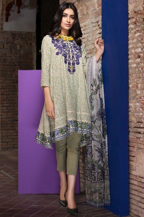 Libasco | Khaadi 3 Piece Stitched Embroidered Lawn Suit - R17204-A - BEIGE | Buy Pakistani dresses online. Salwar Kameez & salwar suit by Pakistani designers. Stitched original designer dresses from Pakistan.