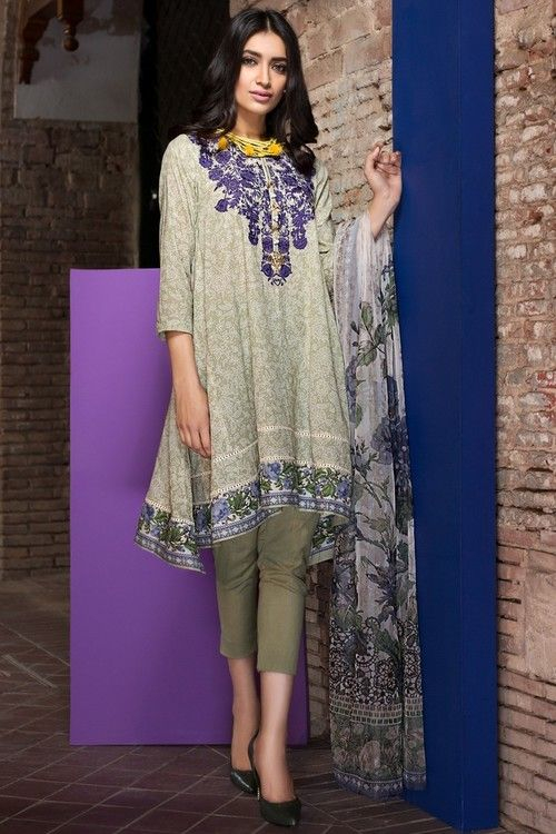 Khaadi 3 Piece Stitched Embroidered Lawn Suit - R17204-A - BEIGE - libasco.com    #khaadi #khaadionline #khadiclothes #khaadi2017 #kaadisummer