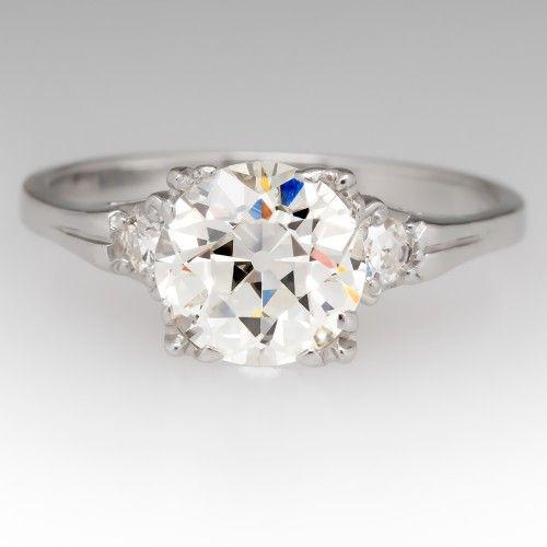 Perfect Heirloom Old Euro Vintage Diamond Engagement Ring Platinum