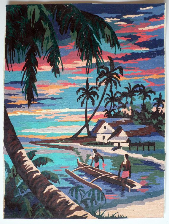 Pair Of Tropical Paint By Number Paintings On Canvas Pinterest Painting And Art