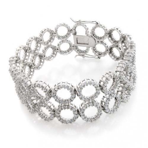 Bling Jewelry Sterling Silver CZ Pave Multi-Circle Bracelet 7in $209.99