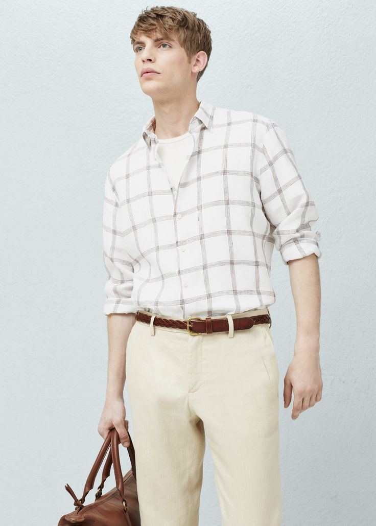 Geruit linnen slim-fit overhemd -  Heren | MANGO Man Nederland