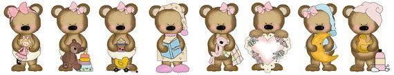 Teddy Bear Wall Border Decals for baby girl nursery or kids room decor. Each bear is doing something different. Bright vivid colors #decampstudios https://www.etsy.com/listing/162019684/teddy-bear-wall-border-decals-baby-girl