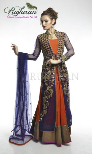 Orange anarkali suit with broad border. The kalidar comes with sheer jacket and heavy intricate work on it. The set comes with blue dupatta and orange lycra pajami. http://drishteeanushaa.com/suits-page-5.php