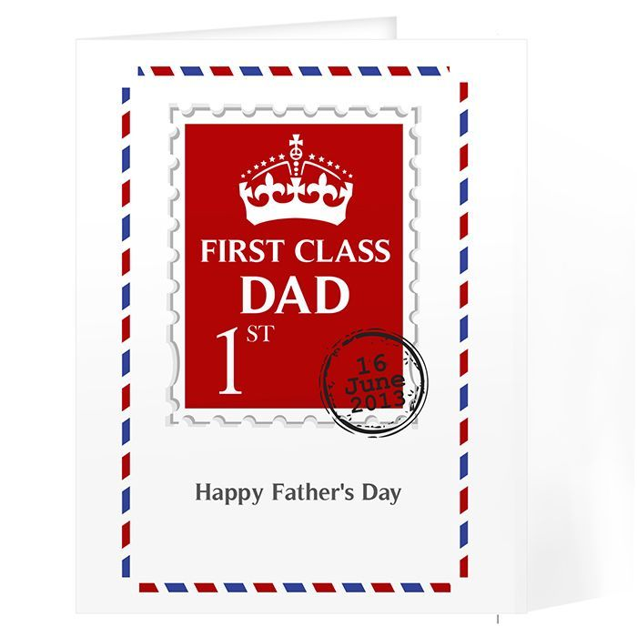 Personalise this 1st Class greetings card with a role on the front up to 12 characters i e Dad Daddy Grandad Uncle Son etc and a day month and year