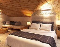 Apartamentowiec w górach, w Szklarskiej Porębie - Duża sypialnia małżeńska na poddaszu z balkonem / tarasem, styl nowoczesny - zdjęcie od Add Design