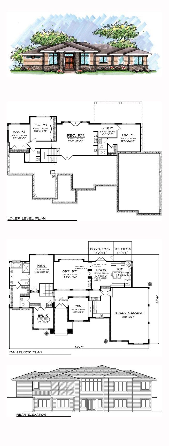 Prairie style southwest house plan 72962 prairie house for Half bath floor plans