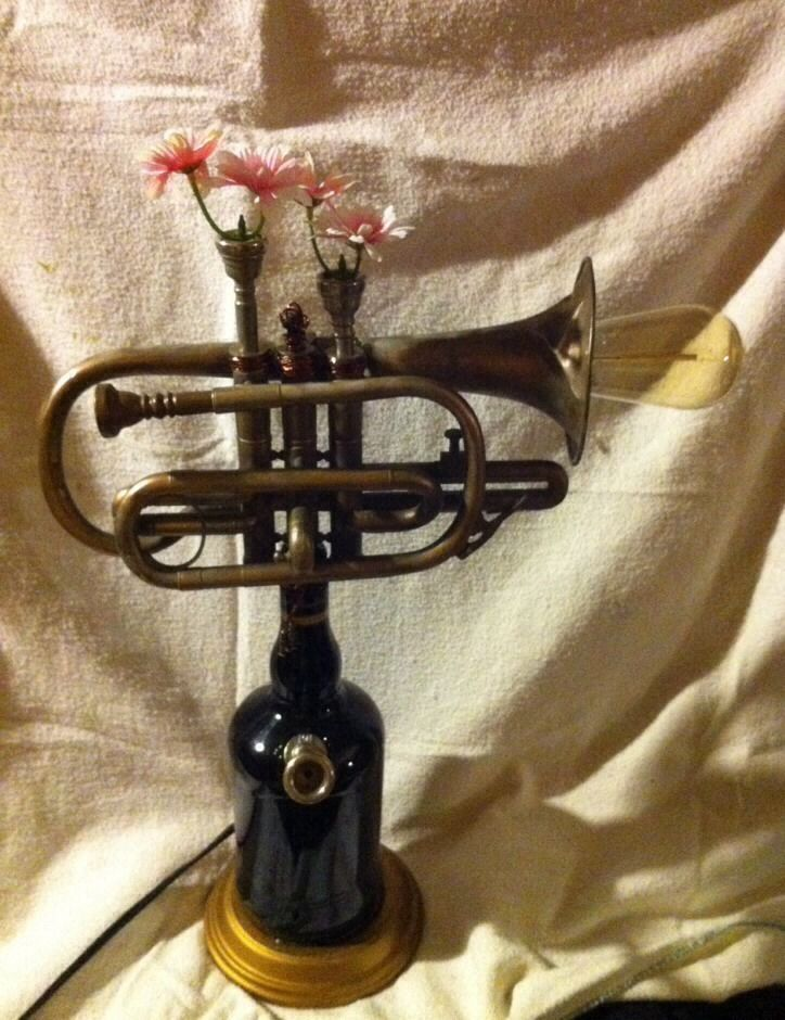 lamp, steampunk, handmade, one of a kind, trumpet, bottle, mouthpiece