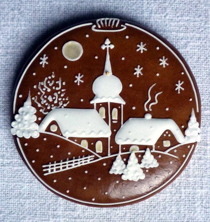 Gingerbread Village Scene Cookie