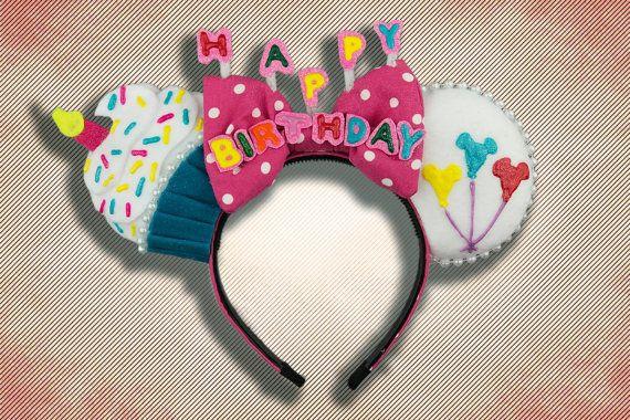 Birthday Mouse Ear Headband with Bow