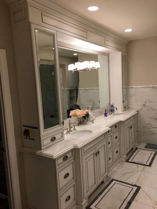 Pin On Bathroom Vanities Organizing newly painted bathroom vanity