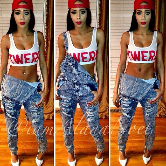 Pretty Girl Swag Dope Fresh Legit Hood Urban Streetwear Fashion Style Trend  Twerk Crop Top Red White Denim Jeans Dungaree SnapB\u2026