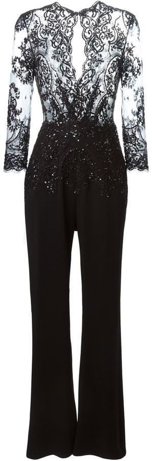 $5,858, Zuhair Murad Sequinned Lace Jumpsuit. Sold by farfetch.com. Click for more info: https://lookastic.com/women/shop_items/357438/redirect