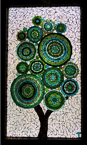 Circle Tree Stained Glass Mosaic by Teresa Hollmeyer