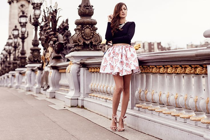 funky print skirt with black top