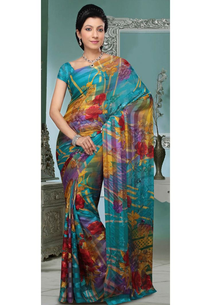 Buy Turquoise Blue and Mustard Brasso Saree with Blouse online, work: Brasso, color: Blue / Mustard, usage: Casual, category: Sarees, fabric: Georgette, price: $28.25, item code: SKK14443A, gender: women, brand: Utsav