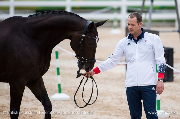 Spencer Wilton and Super Nova II at the Olympic dressage trot up