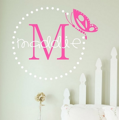 This is a personalized wall decal from totsy.com Like the graduated picket fence idea for a headboard!