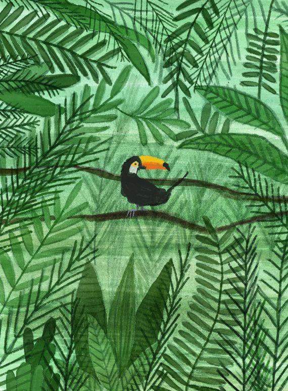 Impression numérique  Toucan par demirelif sur Etsy