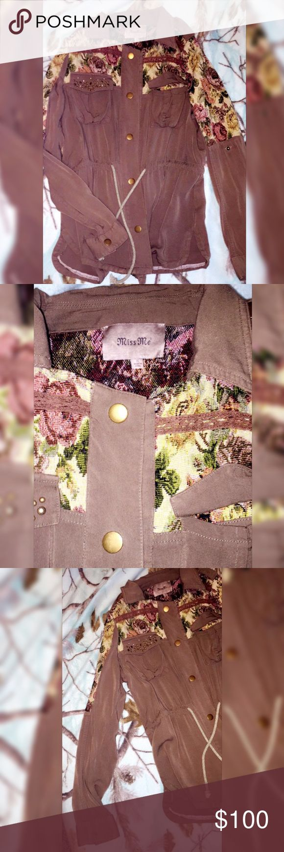 Cute MISSME brown and olive green utility jacket Miss me brand new without tags brown and olive green utility jacket zip up , great for the fall and  spring, lighter jacket Miss Me Jackets & Coats Trench Coats