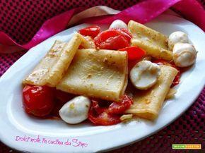 Paccheri al pesto con pomodorini e mozzarella  #ricette #food #recipes