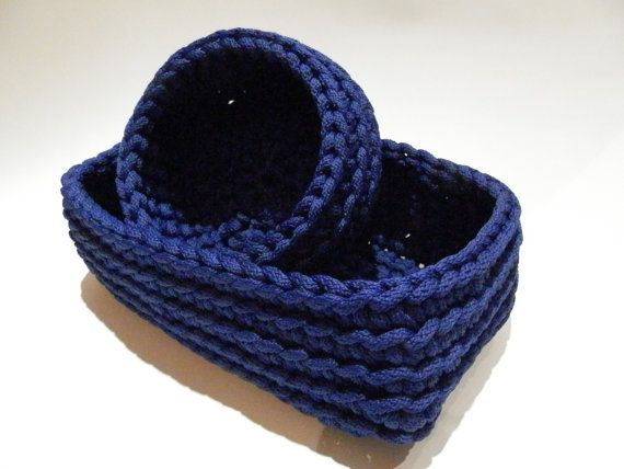 Crochet rope box/knitted basket/toiletries/housewarming gift/color rope basket/blue boxes/handmade basket