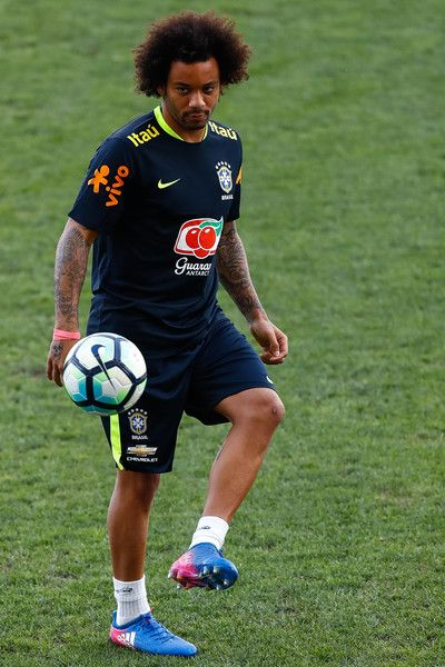 Marcelo of Brazil controls the ball during a training session at Arena Corinthians on March 26, 2017 in Sao Paulo, Brazil.