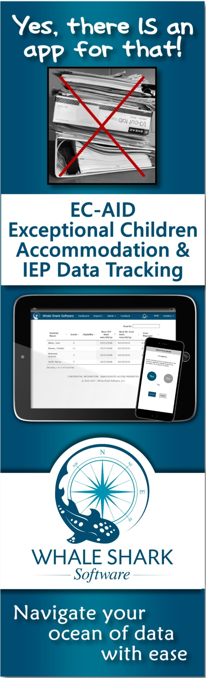 Developed with teachers, EC-AID allows real time data tracking against IEP goals and student accommodations on a mobile device or computer. Student-centered app is available to all teachers and staff working with an enrolled child. Get notifications when goals are due to be monitored, and generate reports and graphics to share progress.  #iep #iepdata #SpecialEducation #specialed #iepdatacollection #ECAID