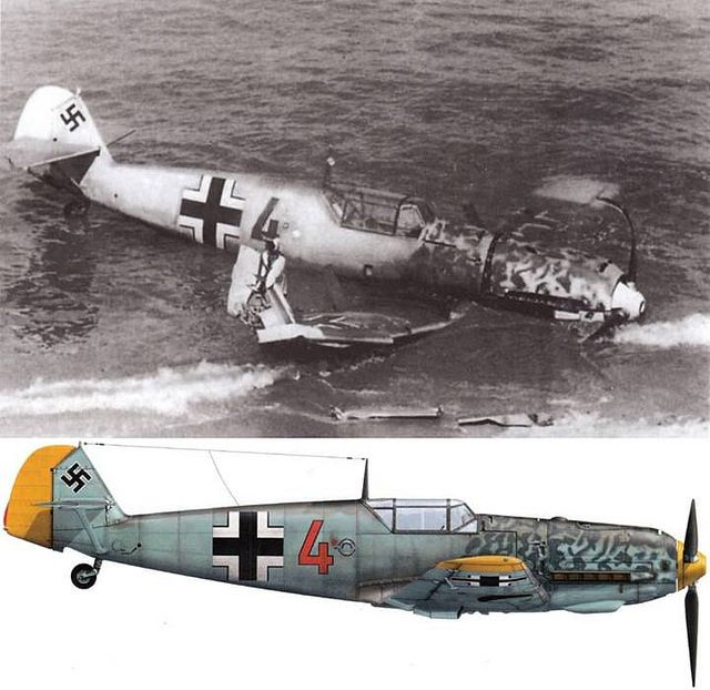A Messerschmitt Bf 109 E-1 of 2./JG 26 force landed in a beach of France while returning from England during the Battle of Britain Source : Avions n°189