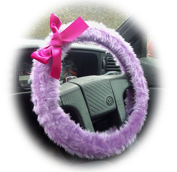 Lilac Steering Wheel Cover Faux Furry Fur Fluffy Fuzzy Car Hot Barbie Pink Satin Bow Cute Girly Girl Heliotrope Lavender By PoppysCrafts