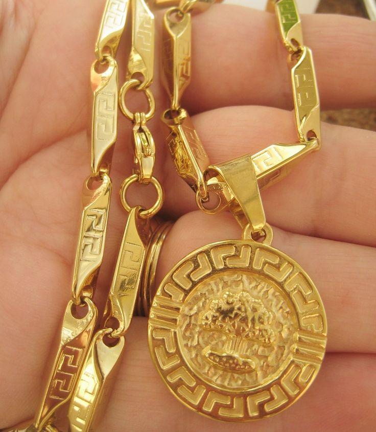 Poze Lant +medalion INOX  placat  ( otel inoxidabil ) cod mihasem624
