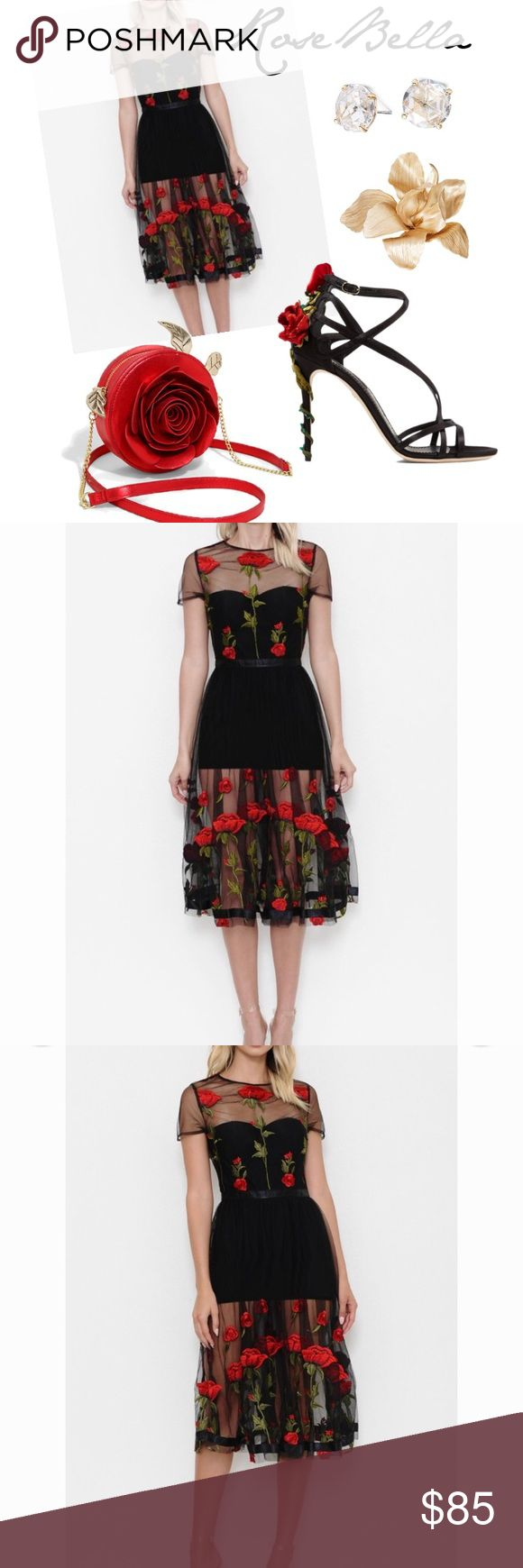 Rosa Bella Dress Midi dress with floral embroidered sheer Dresses Midi