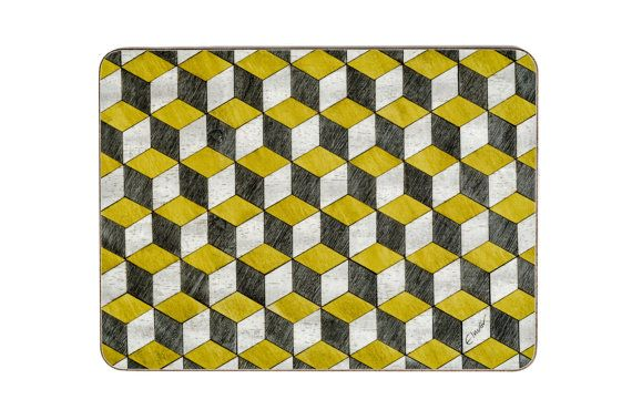 4 Yellow Grey Placemats Geometric Placemats Retro Placemats Art Deco placemat Retro Yellow Grey place mat wedding gift for couple