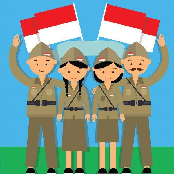 Independence Day Hari Pahlawan 17 Agustus 1945 Veteran Indonesia Fighter Merdeka Sponsored Pahlawan Hari Independ Illustration Bendera Cara Menggambar