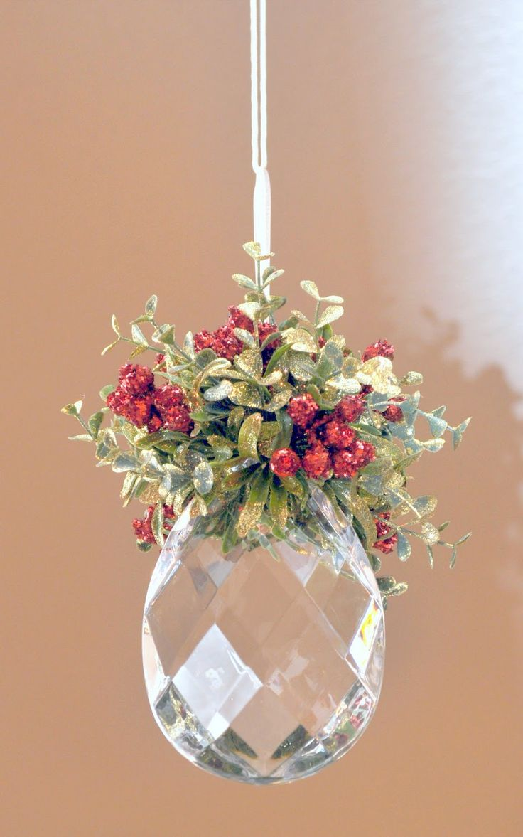 Great ornament idea! It would look really pretty with lights on a tree.  Buy the chandelier replacement pendants at Home Depot for an inexpensive way to add sparkle to tree.