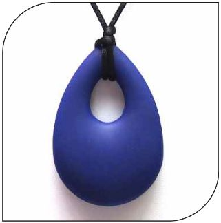 Navy blue soothing chewy silicone angle tear pendent.