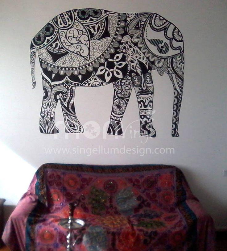 Vinilo Montaje Elefante Hindu,  Vinilos Decorativos, Vinilos, Vinilo, Vinilos Adhesivos, Vinilos Decorativos de Animales, Decoración de Paredes, Stickers, Pegatinas.
