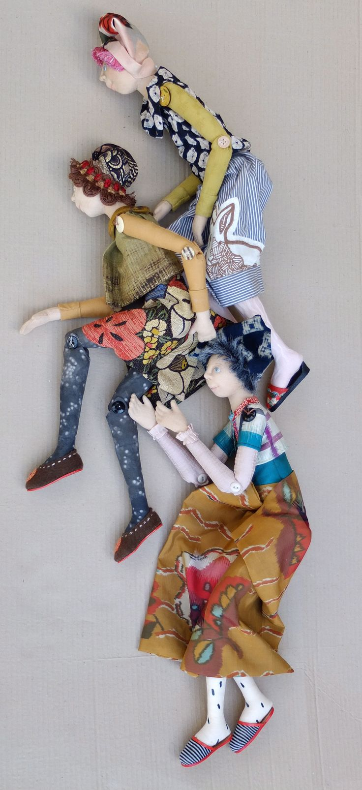 Artist: Barbara Mitchell  Media: Antique Japanese kimono fabrics, recycled clothing, cotton, muslin, leather, fiber filling
