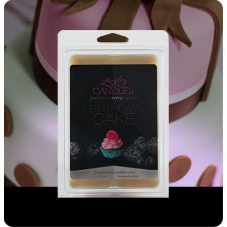Birthday Cake Wax Tarts with jewelry inside!  $15.95 100% Natural Soy I looooove this scent!! Birthday Cake anything smells amazing! Love that they have all their scents in wax tarts AND candles! And the sizes are HUGE!